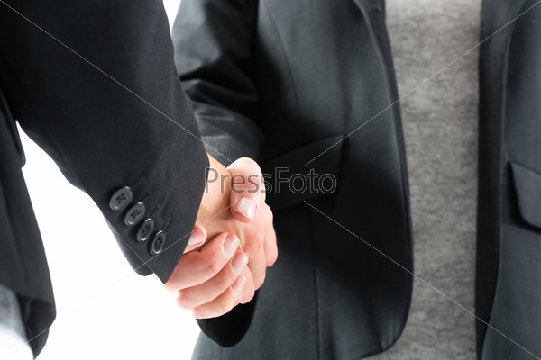 Business handshake by two women