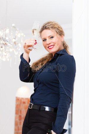After Hour - woman at home with sparkling wine