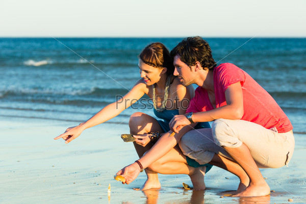Couple looking for shells at sunset