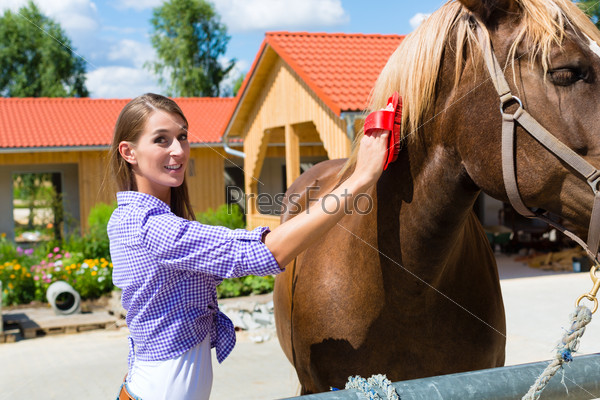 Young woman in the stable with horse