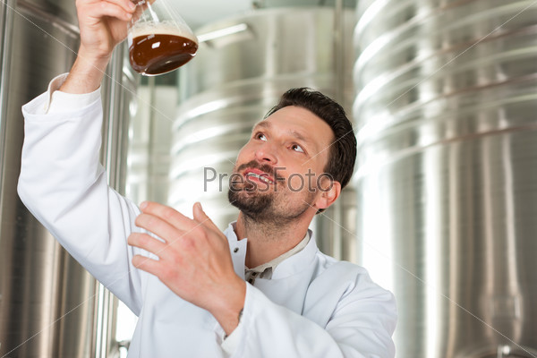 Beer brewer in his brewery