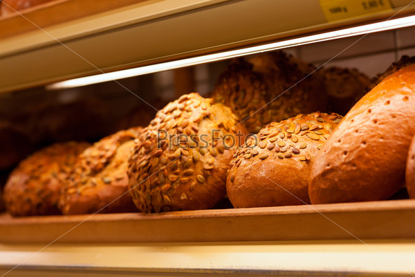 Fresh bread in the display of a bakery