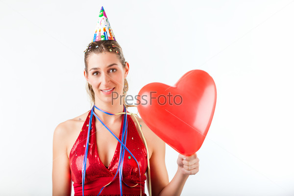 Woman celebrating birthday or valentines day