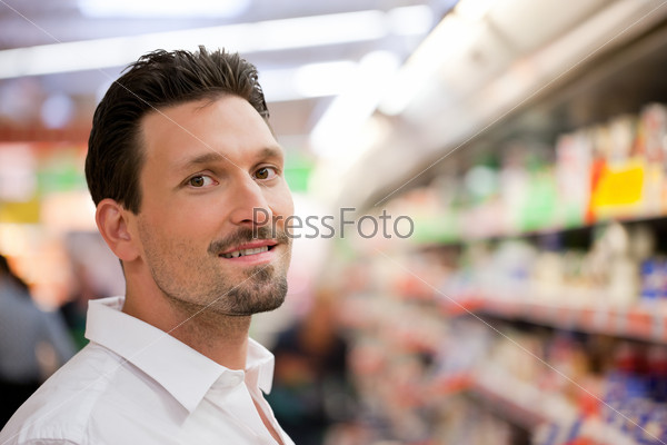 Smiling Young Customer at Supermarket