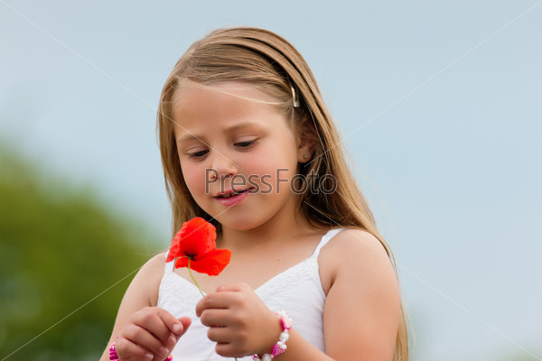 Family - Happy girl with corn poppy