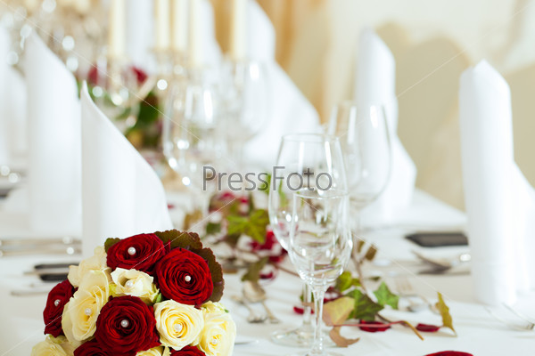 Table at a wedding feast