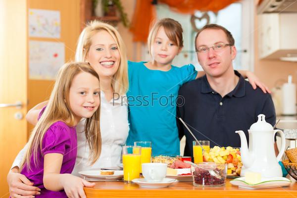 Family having food for breakfast