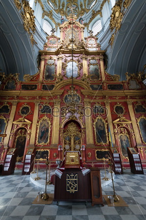 Interior of Saint Andrew orthodox church in Kyiv, Ukraine.