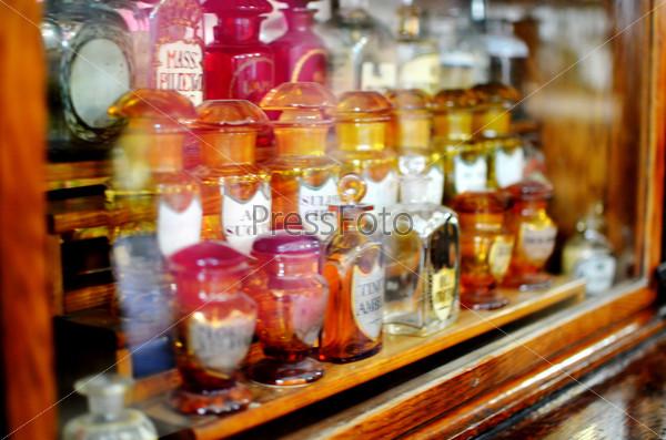 Shelf with medical bottles