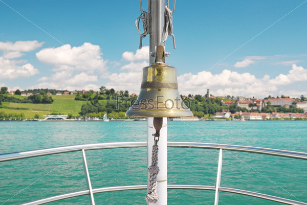 bell on the ship and lake