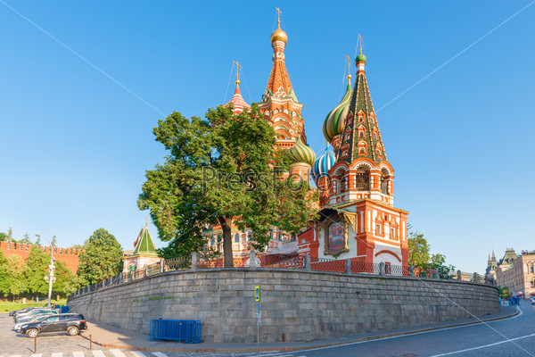 panoramic shot of St. Basil's Cathedral in Moscow