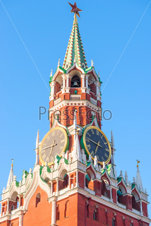 Kremlin tower with clock in Moscow at dawn