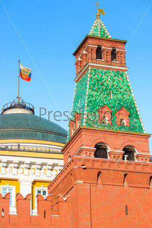 Views of the Presidential flag in the Moscow Kremlin