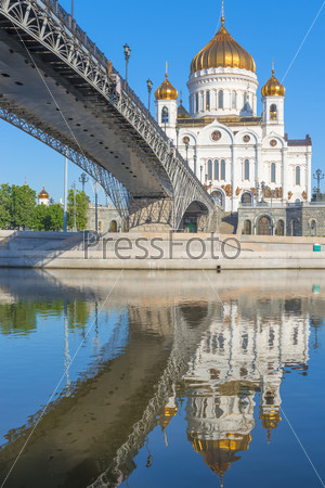vertical shot of Christ the Savior and the bridge