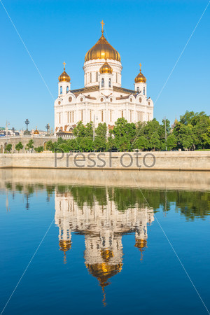 Christ the Saviour reflected in the water of the river