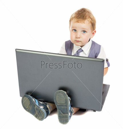 little boy at the computer