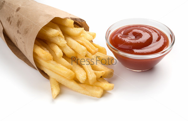 French fries with ketchup on white