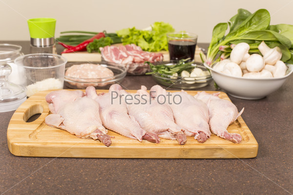 quails a whole bird and products for stuffing