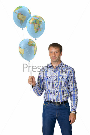 Portrait young man holding balloons