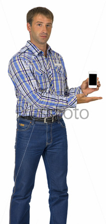 Standing man hold smart phone