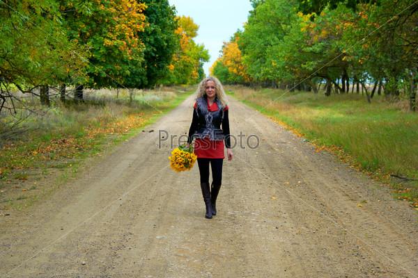 woman or girl in autumn
