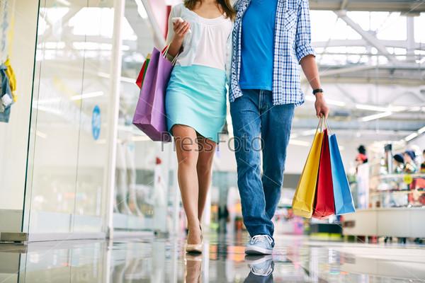 Shoppers walking