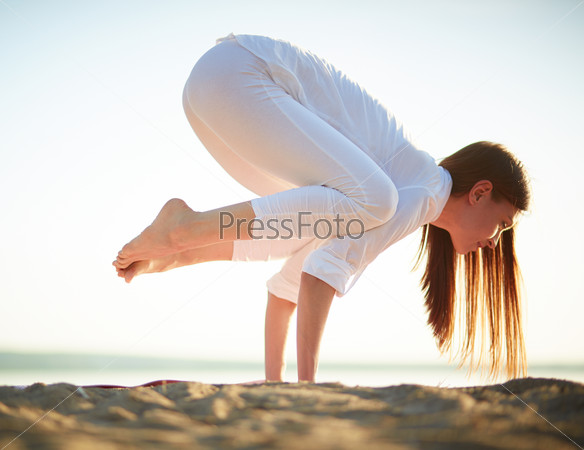 Exercising on beach