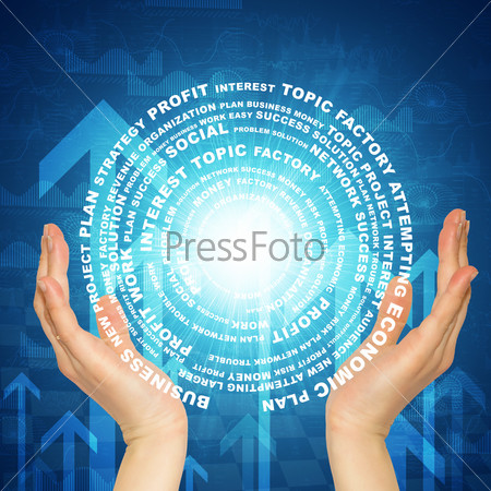 Hands hold glow circle consists business words