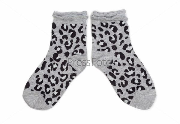 Pair of gray socks with black pattern.