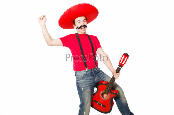 Mexican guitar player isolated on the white