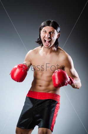 Martial arts fighter at the training