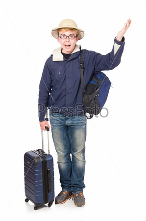 Funny man with luggage wearing safari hat