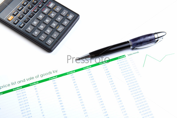 business still-life with digits and calculator