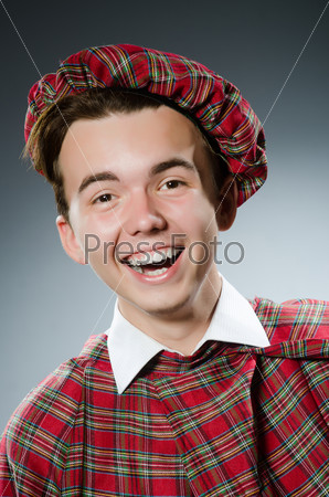 Funny scotsman in the studio shooting