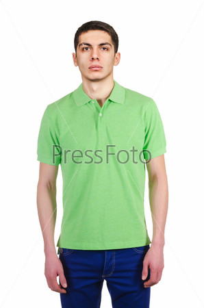 Male t-shirt isolated on the white background