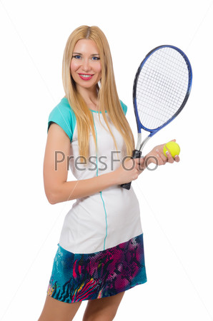 Tennis player isolated on white