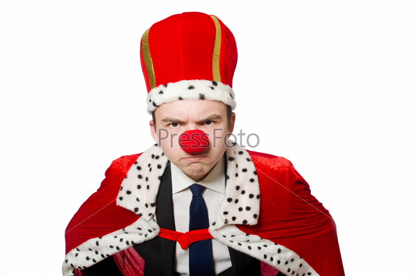 Man with crown isolated on white