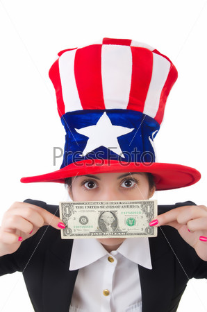 Young woman with dollar and usa hat