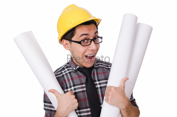 Funny man with blueprints on white