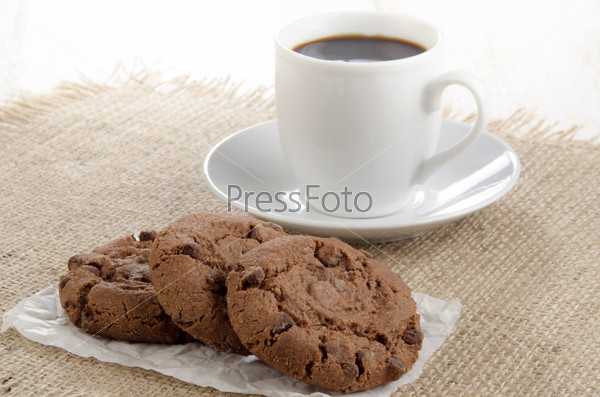 chocolate biscuit on white paper