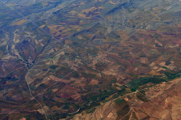 Earth's surface. Colorful fields