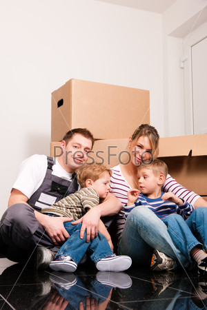 Family moving in their new home