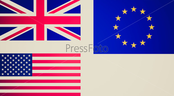 Retro look Flags of UK EU USA