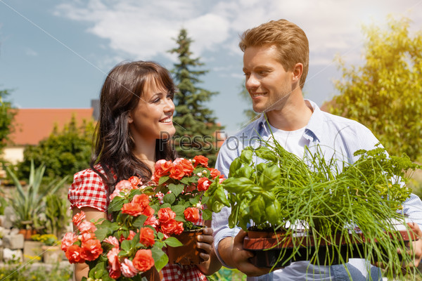Couple in vegetable garden harvesting