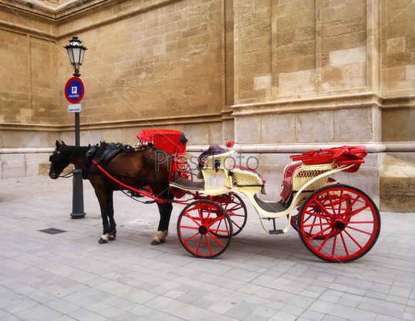 Red Cart with horse in Spain, Mallorca