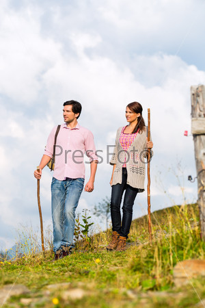 Alps - Couple hiking in Bavarian mountains