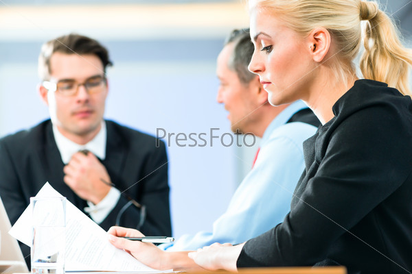 Business - meeting in office, people working with document