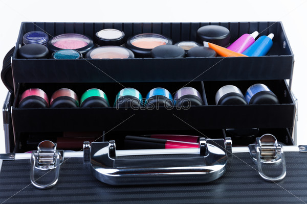 Shelves in makeup case