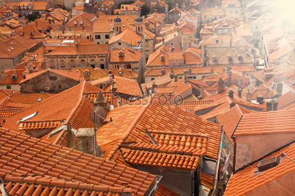 Shot full with red tile roofs