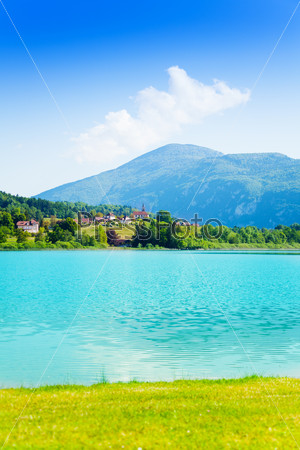 Village and lake and d'aiguebelette